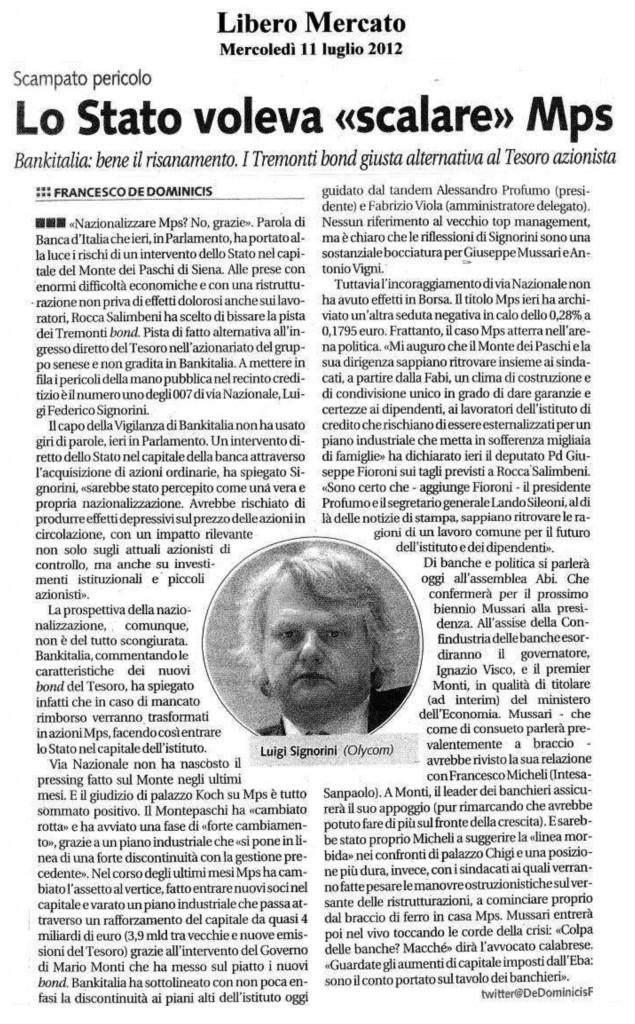 """Banche: Sileoni (Fabi), disponibili nuovo percorso relazioni industriali """"Relazione Mussari coraggiosa e innovativa"""" (da CORRIERE.it, mercoledì 11 luglio 2012 - 15:27)"""
