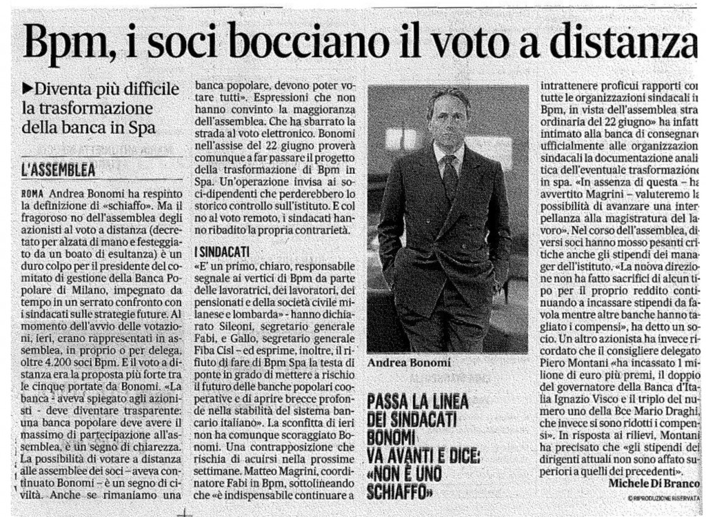 BPM, I SOCI BOCCIANO IL VOTO A DISTANZA (Il Messaggero, domenica 28 aprile 2013)