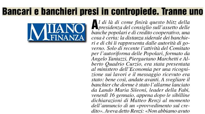 """""""BANCARI E BANCHIERI PRESI IN CONTROPIEDE. TRANNE UNO"""" - Milano Finanza, mercoledì 21 gennaio"""
