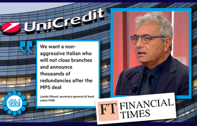 SILEONI AL FINANCIAL TIMES: «IN UNICREDIT UN ITALIANO CHE NON SIA AGGRESSIVO»